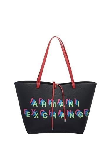 Armani Exchange Armani Exchange Logo Baskılı Renkli Kadın Alışveriş Çantası Siyah